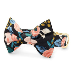 Rosa Floral Peach Bow Tie Collar from The Foggy Dog
