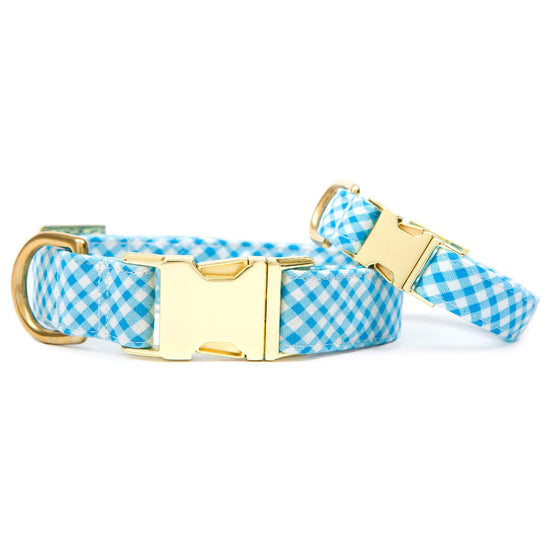Sky Blue Gingham Dog Collar from The Foggy Dog