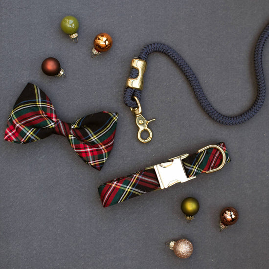 Stewart Plaid Dog Bow Tie from The Foggy Dog