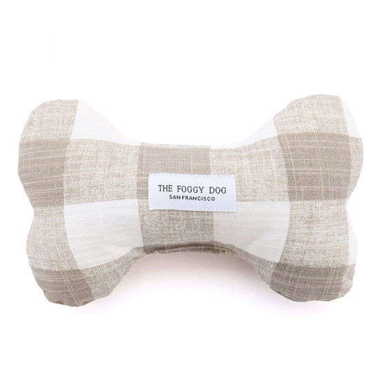 Warm Stone Gingham Dog Squeaky Toy from The Foggy Dog