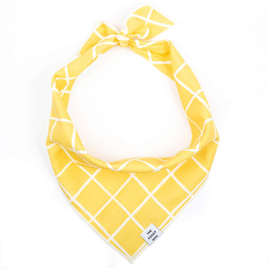 Yellow Grid Dog Bandana from The Foggy Dog