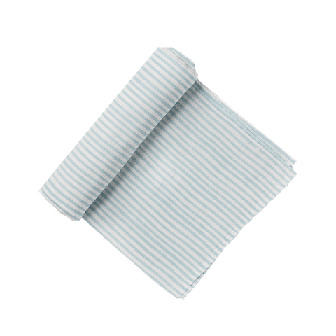 OCEAN BLUE & WHITE STRIPED SWADDLE - Lake Millie