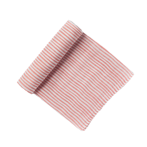 ROSY PINK & WHITE STRIPED SWADDLE - Lake Millie