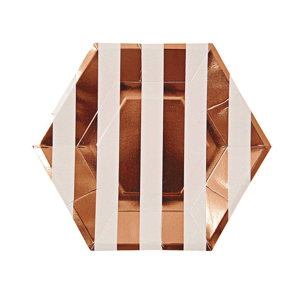 ROSE GOLD STRIPED PLATES, SMALL - Lake Millie