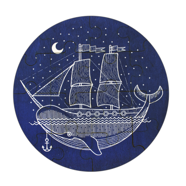 NARWHAL SHIP WOODEN PUZZLE - Lake Millie