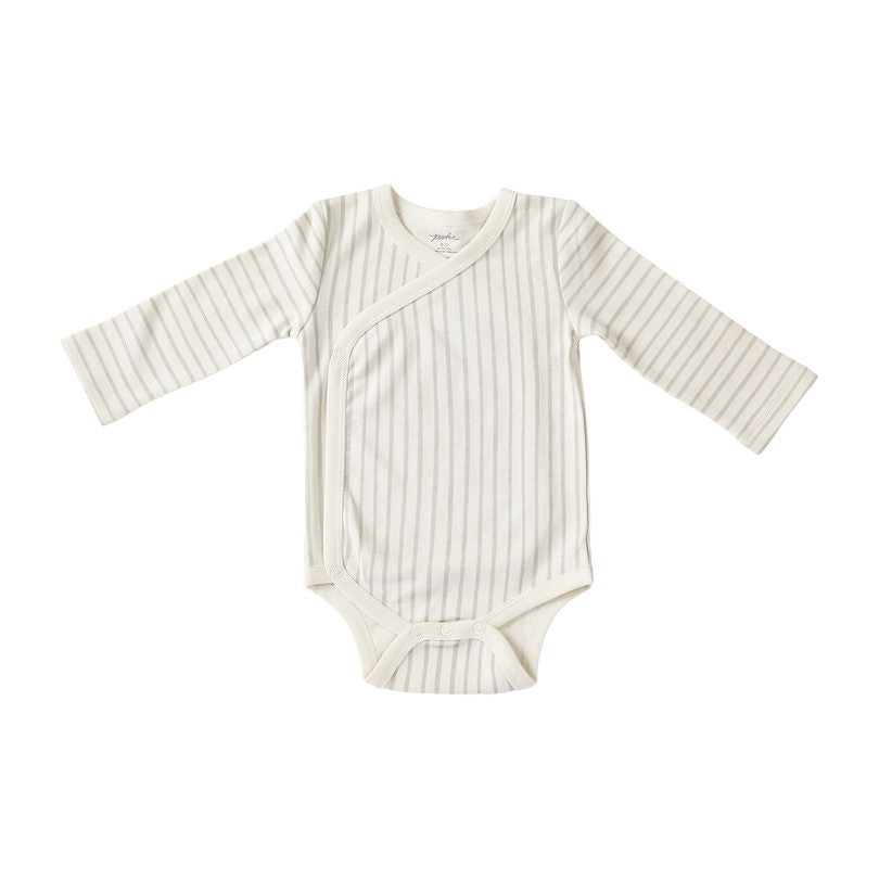 STRIPES AWAY ORGANIC KIMONO ONE-PIECE, PEBBLE