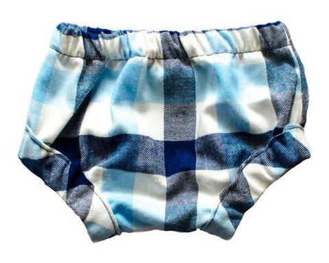BABY BLOOMERS, BLUE & WHITE PLAID FLANNEL - Lake Millie