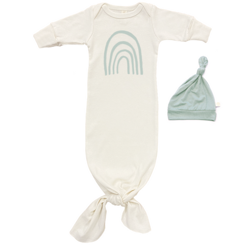 ORGANIC NEWBORN GOWN & HAT SET - SAGE RAINBOW