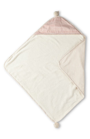 STRIPES AWAY HOODED TOWEL, PETAL
