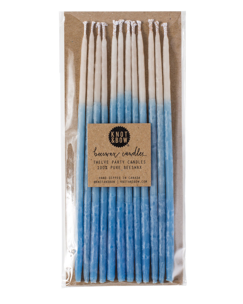TALL BEESWAX PARTY CANDLES, BLUE OMBRÉ - Lake Millie