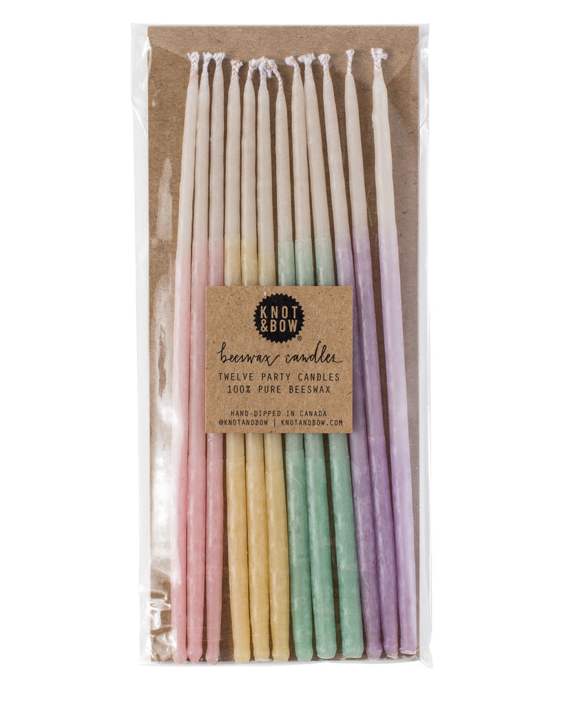 TALL BEESWAX PARTY CANDLES, PASTEL OMBRÉ - Lake Millie