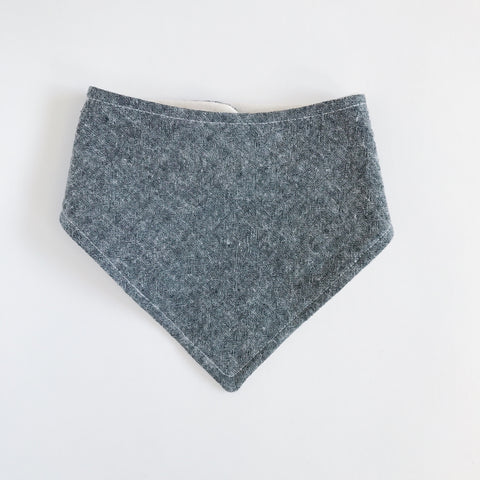 LINEN-COTTON BANDANA BIB, CHARCOAL GRAY - Lake Millie