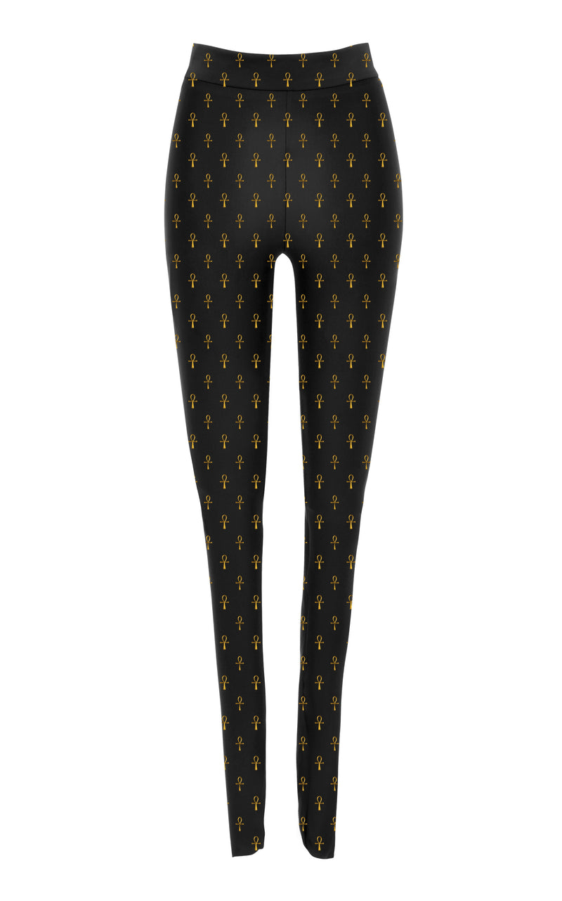 Black & Gold Ankh Monogram Leggings