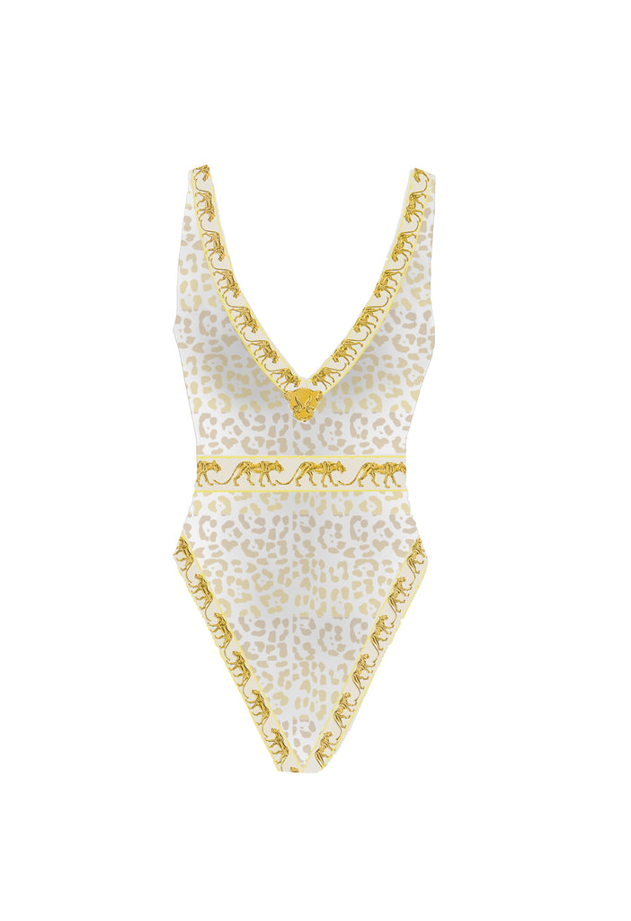 Bastet White & Gold Leopard Swimsuit