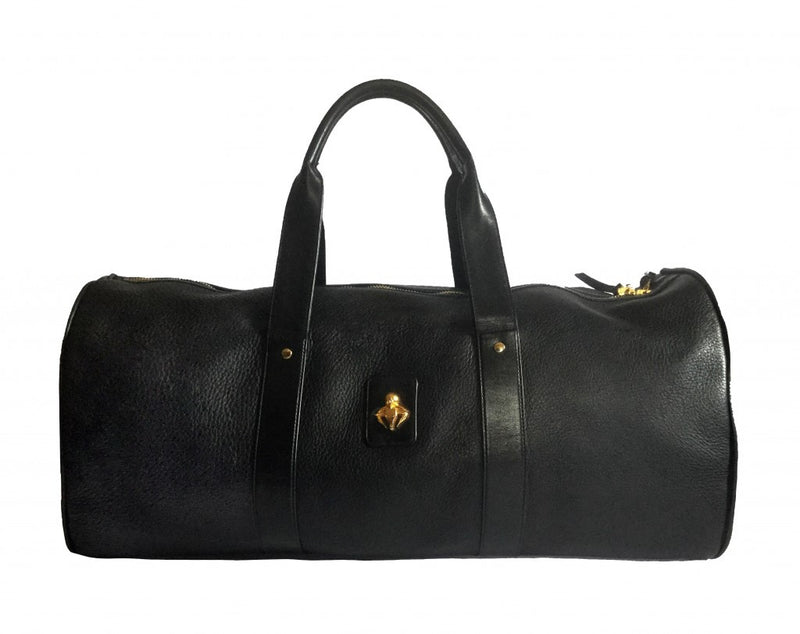 Black Pebble Grain Calfskin Leather Duffel Bag