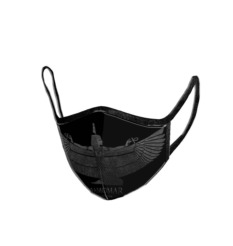Black Goddess Maat Embroidered  Face Mask