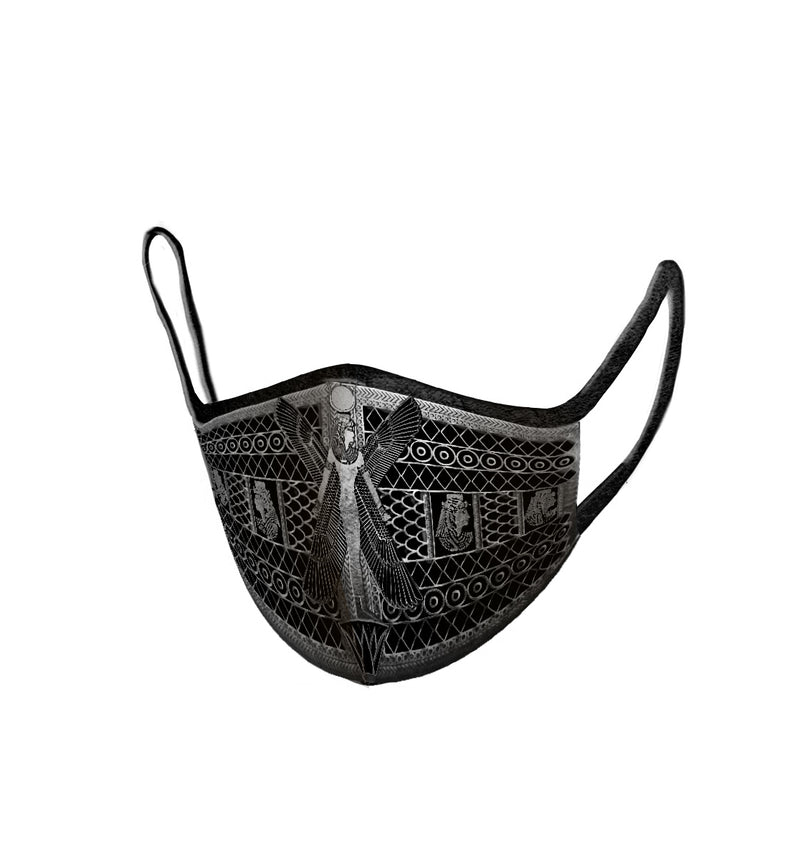 Black Winged Goddess Mut Embroidered  Face Mask