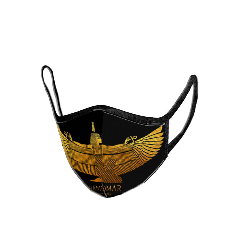 Golden Goddess Maat Embroidered  Face Mask
