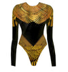 Black  & Gold Winged Goddess Bodysuit