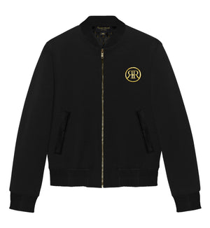 Black & Gold  Goddess Isis Wool  Bomber Jacket