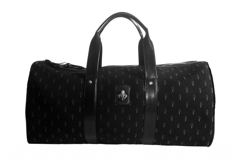 Black Ankh Monogram Canvas & Calfskin Leather Duffel Bag