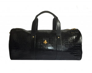 Black Crocodile Duffel Bag
