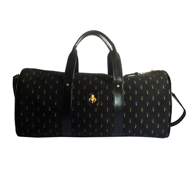 Black & Gold Ankh Monogram Canvas & Calfskin Leather Duffel Bag