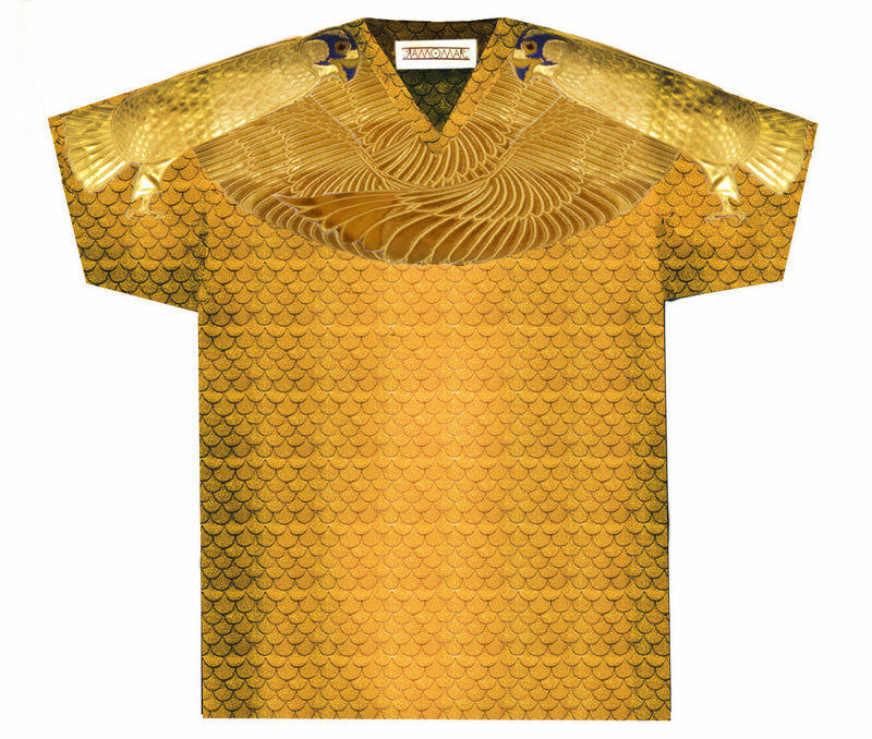 Gold Feathered Protected by Golden Horus V Neck
