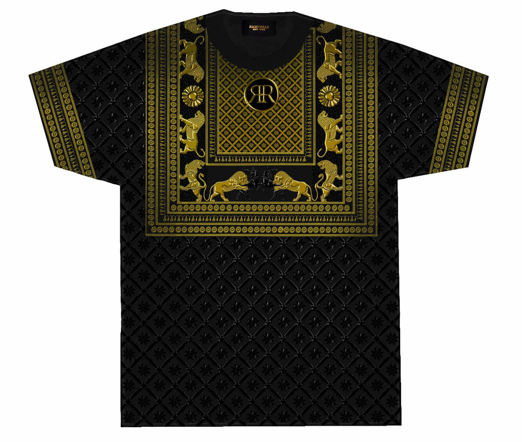 Lion Hunt Lotus Rosette Black & Gold