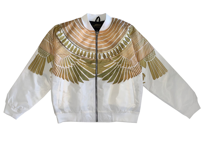 White Protected by Golden Horus Falcon Bomber Jacket