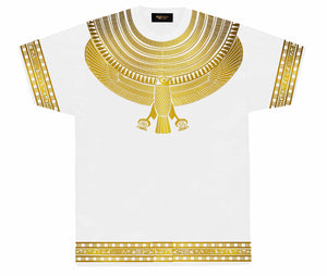 White & Gold Horus Collar T-Shirt