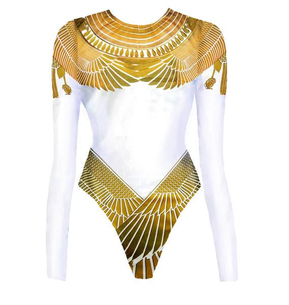 White & Gold Winged Goddess Bodysuit