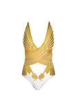 White & Gold Crossbody Falcon Swimsuit