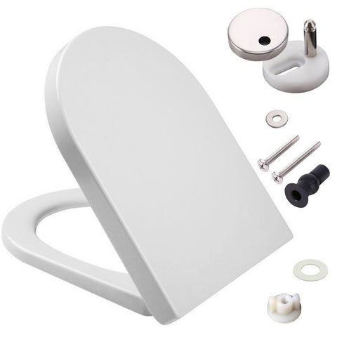 large d shaped toilet seat. D Shaped White Toilet Seat With Soft Close  Quick Release Hinges Polypropylene Home Kitchen Mass Dynamic Limited