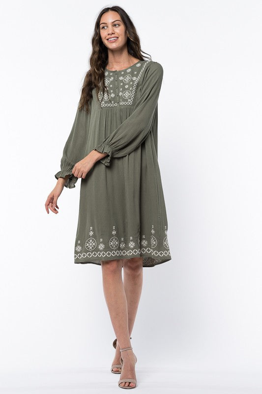 The Emberly Swing Dress in Olive