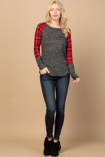 The Pam Plaid Top in Charcoal/Red
