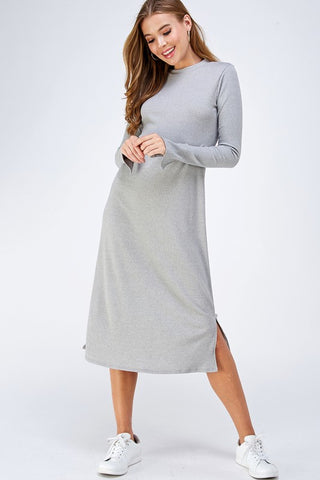 Knitted Midi Dress in Grey