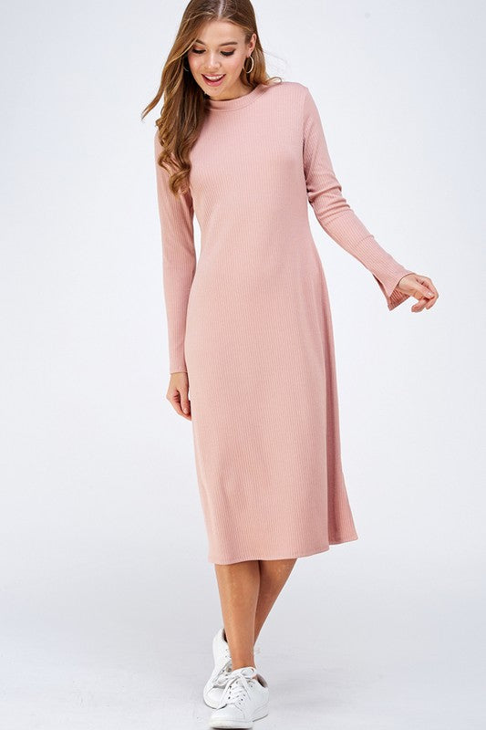 Knitted Midi Dress in Dusty Rose