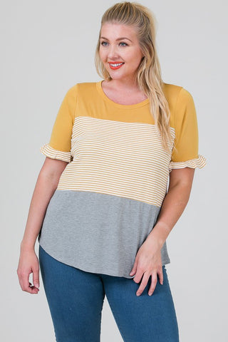 The Lindsay Top in Mustard Curvy
