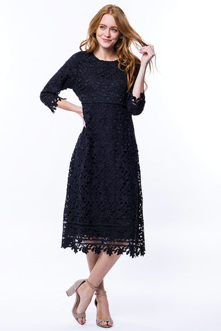 Floral Lace Dress in Navy