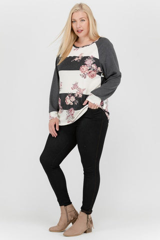 The Anna Top in Charcoal Curvy