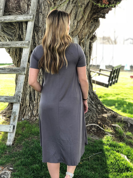 The Ryan Dress in Mid Grey