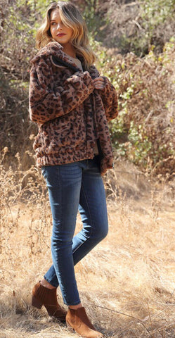 Leopard Print Faux Fur Teddy Coat