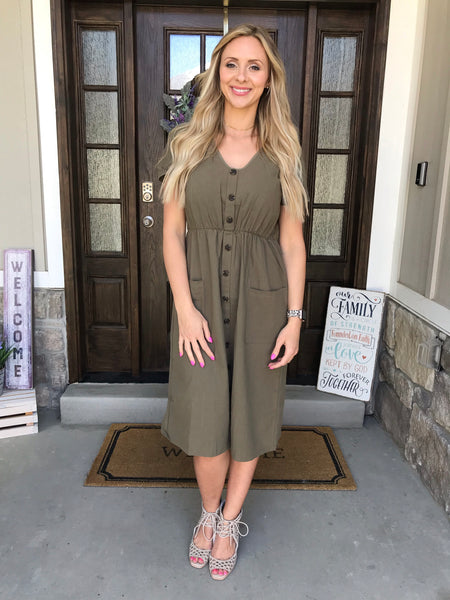 The Penelope Dress in Olive