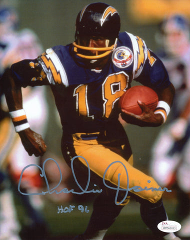 CHARLIE JOINER AUTOGRAPHED SAN DIEGO CHARGERS 8X10 PHOTO JSA AUTHENTICATED (BLUE JERSEY)