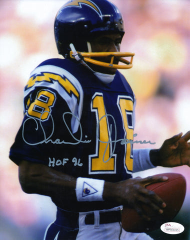 CHARLIE JOINER AUTOGRAPHED SAN DIEGO CHARGERS 8X10 PHOTO JSA AUTHENTICATED (BLUE CLOSE UP JERSEY)