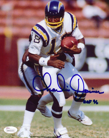 CHARLIE JOINER AUTOGRAPHED SAN DIEGO CHARGERS 8X10 PHOTO JSA COA (WHITE JERSEY)
