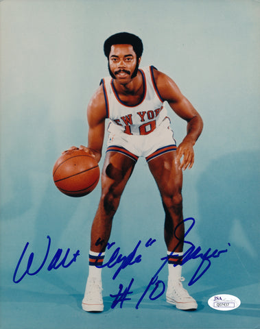 WALT FRAZIER AUTOGRAPHED 8X10 PHOTO JSA AUTHENTICATED W/ CLYDE INSCRIPTION