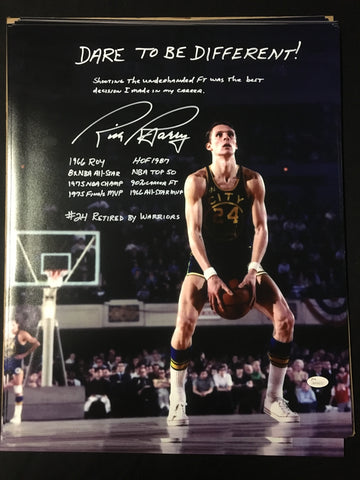 RICK BARRY AUTOGRAPHED 16x20 PHOTO WITH STORY & 9 INSCRIPTIONS LIMITED TO 24 PIECES - JSA WITNESS CERTIFICATE