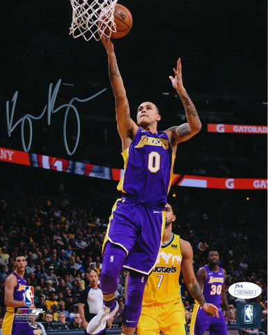 KYLE KUZMA AUTOGRAPHED 8x10 PHOTO LOS ANGELES LAKERS - PURPLE (JSA SD COA)